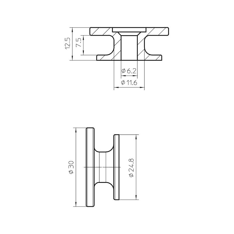 Round button - KNOB-ROUND-PLA-BLACK-D30MM