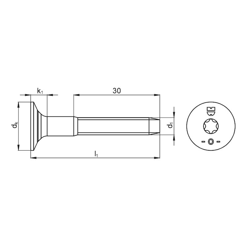 Gewindefurchende Schraube mit Trompetenkopf - 2