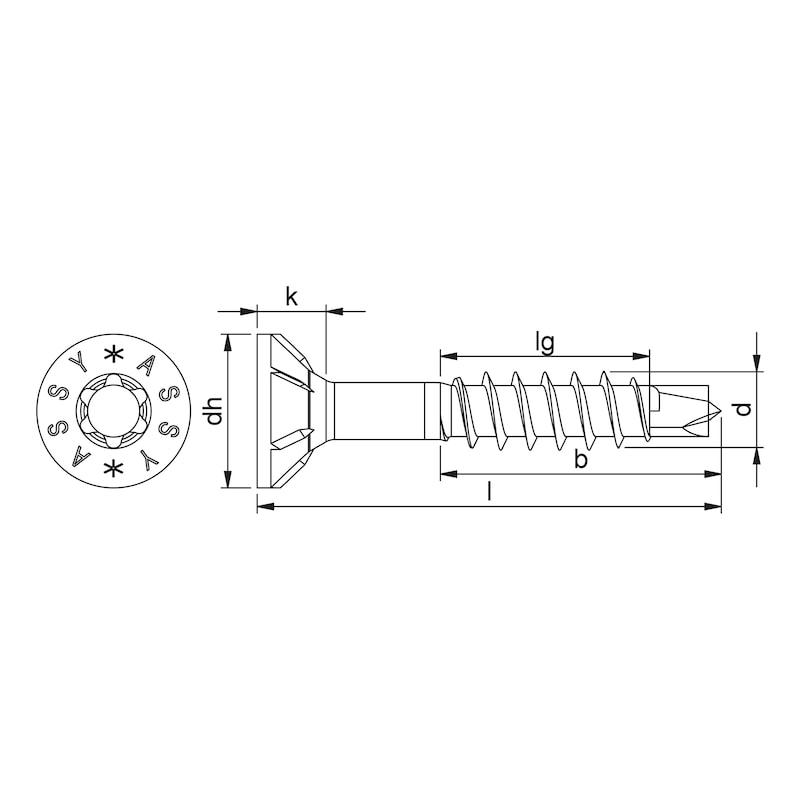 ASSY<SUP>®</SUP>plus 4 A2 CSMR Universalschraube Edelstahl A2 blank Teilgewinde Senkfräskopf - 2