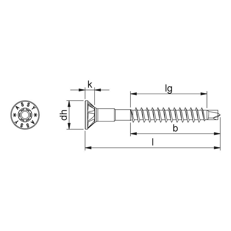 ASSY<SUP>®</SUP>plus 4 CSMP HO CORPUS Kopflochgebohrte Korpusschraube Stahl gehärtet verzinkt Teilgewinde Senkfrästaschenkopf - 2