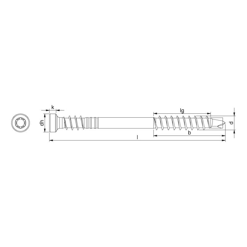 Vis pour construction de terrasses ASSY<SUP>®</SUP>plus 4 A2 CH Acier inoxydable non allié A2, filetage partiel avec filetage sous la tête, tête cylindrique - 2