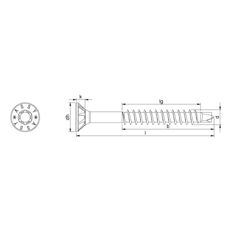 ASSY<SUP>®</SUP>plus 4 CSMP Universalschraube magaziniert Stahl gehärtet verzinkt Teilgewinde Senkfrästaschenkopf - 2