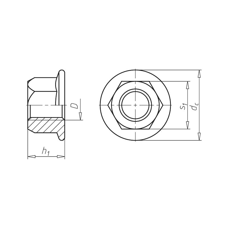 Sechskantmutter mit Flansch und Klemmteil (Ganzmetall) - MU-6KT-FLSH-EN1664-10-SW30-(ZFSHL)-M20