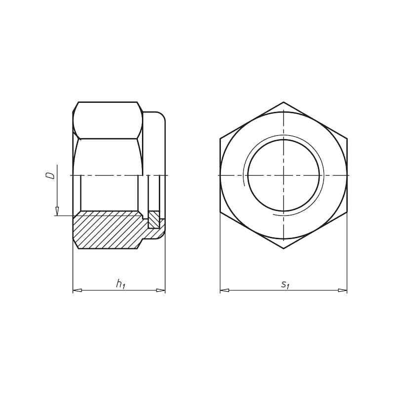 Sechskantmutter mit Klemmteil (nichtmetallischer Einsatz) - MU-STOP-ISO7040-10-SW18-(ZNSHL)-M12