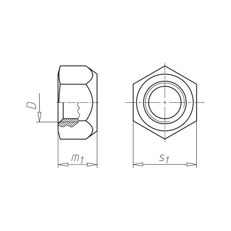 Sechskantmutter mit Klemmteil (Ganzmetall) - MU-6KT-STOP-AEDIN980-A2-(SN)-SW10-M6