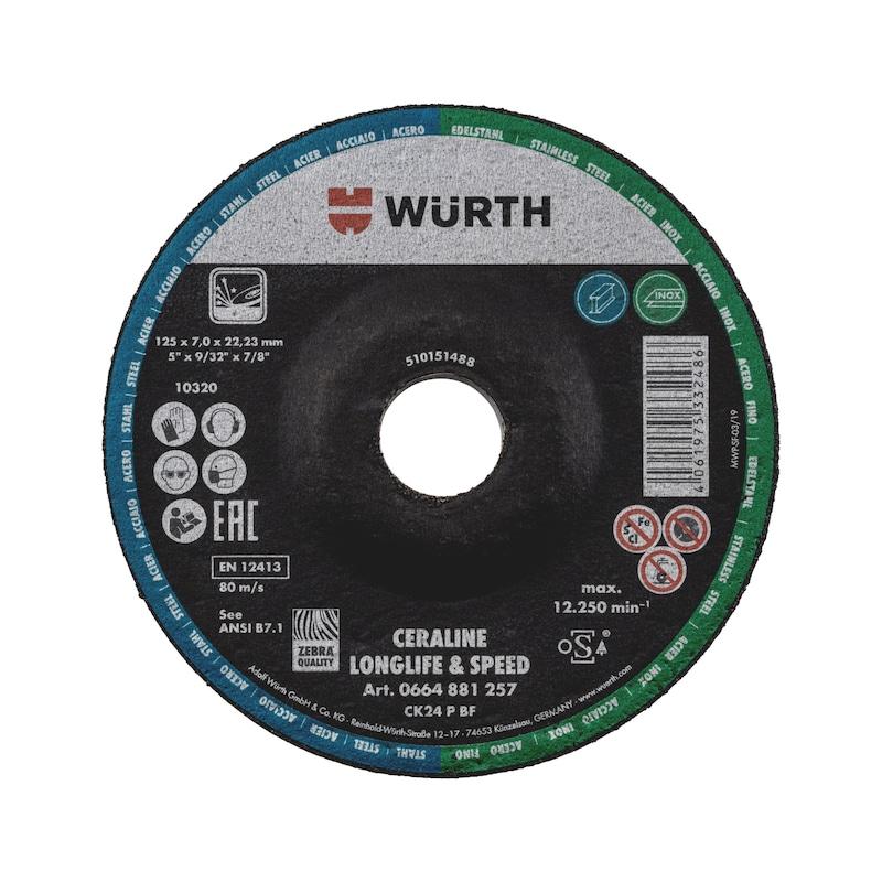Schruppscheibe für Stahl und Edelstahl Ceraline Longlife & Speed - SSHB-CK-LS-ST/A2-GK-ST7,0-BO22,23-D125
