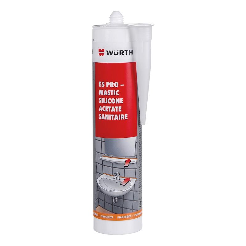 Mastic silicone acétate sanitaire E5 PRO - E5 PRO SILICONE SANITAIRE GRIS 310ML