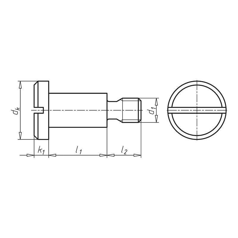 Flachkopfschraube mit Schlitz und Ansatz - 2