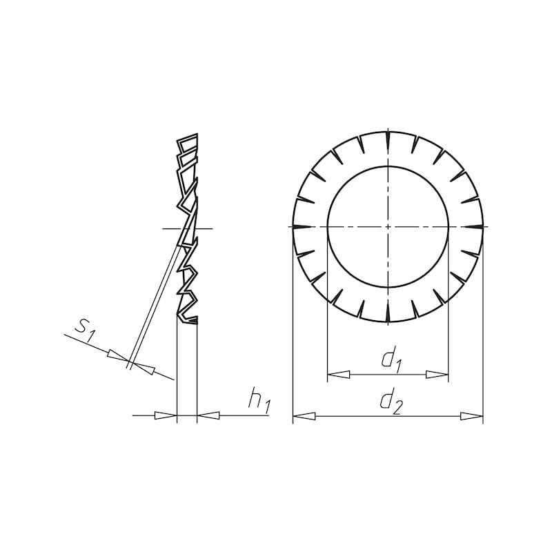 Fächerscheibe außengezahnt Form A - SHB-FAECH-DIN6798-A2-AZ-D5,3