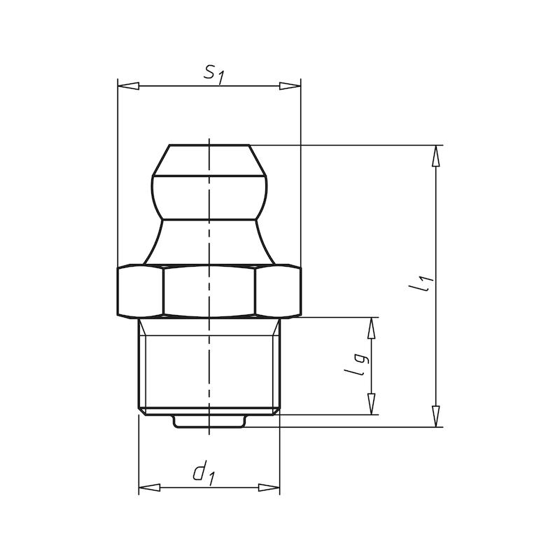 Kegelnippel, Form A - NPL-DIN71412-H1-(A2K)-M10X1,5