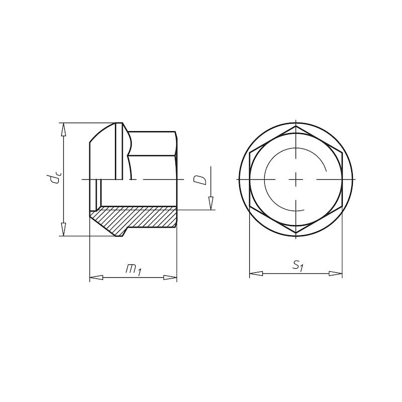 Kugelbundmutter Radbefestigung  - MU-6KT-BND-DIN74361-A-10-SW27-M20X1,5