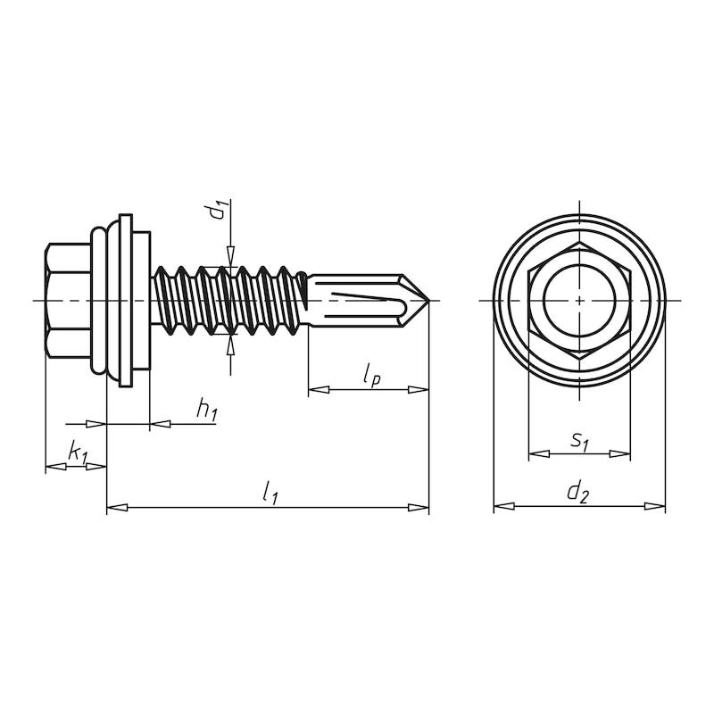 Bohrschraube Sechskantkopf mit Schutzkappe und Dichtscheibe aus Edelstahl A2 pias<SUP>®</SUP> - 2
