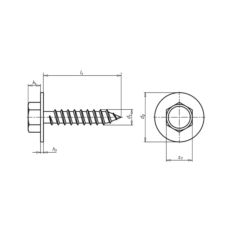 Blechschraube Sechskantkopf mit Scheibe  - 2