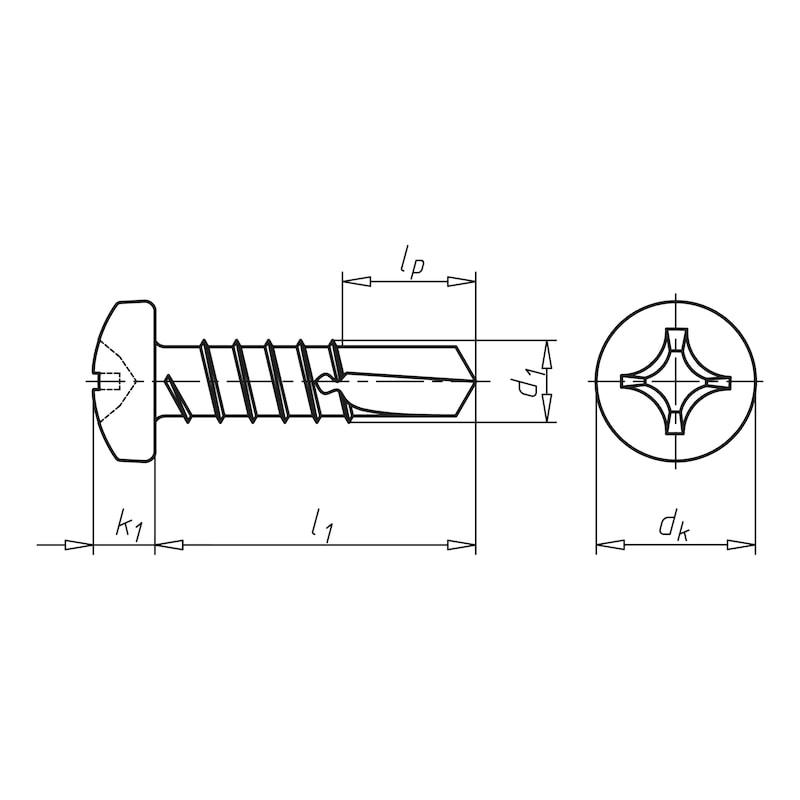 ドリルネジ、埋め込み型ヘッド付き平頭、H pias<SUP>®</SUP> - ゼブラPIAS ナベ ユニクロ 4.8X16MM