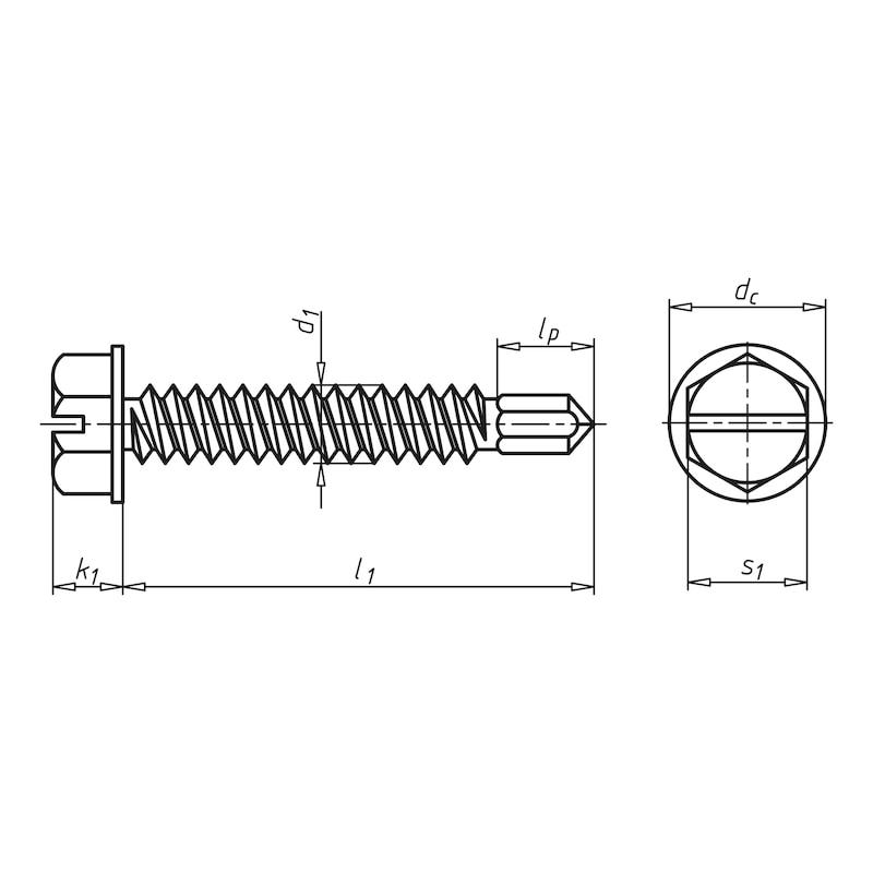 Bohrschraube Sechskantkopf mit Bund und Schlitz pias<SUP>®</SUP> - SHR-BSP-6KT-FLSH-SZ-SW8-(A3K)-4,8X13
