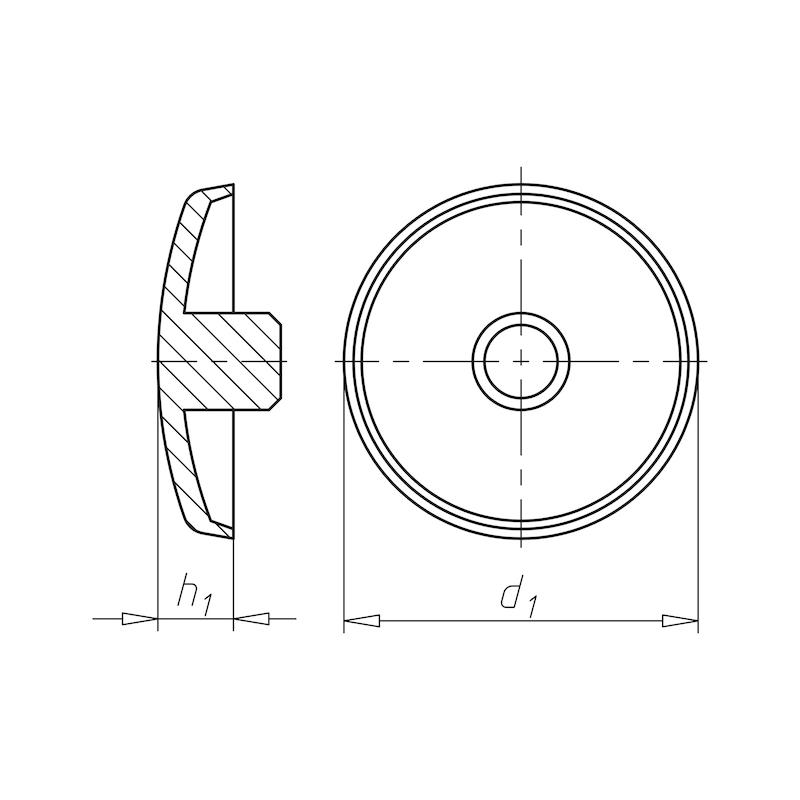 Abdeckkappe flach mit Bund - ABDEKA-FL-M.BND-(0910)-GRAU