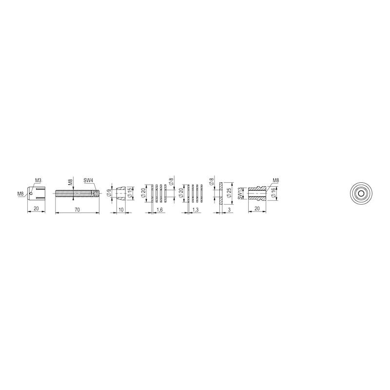 Befestigungssatz Typ A für Edelstahl-Stoßgriff - 5