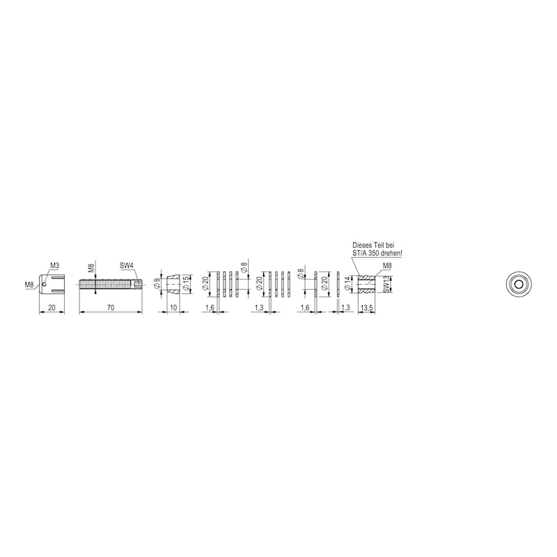 Befestigungssatz Typ B für Edelstahl-Stoßgriff - 5