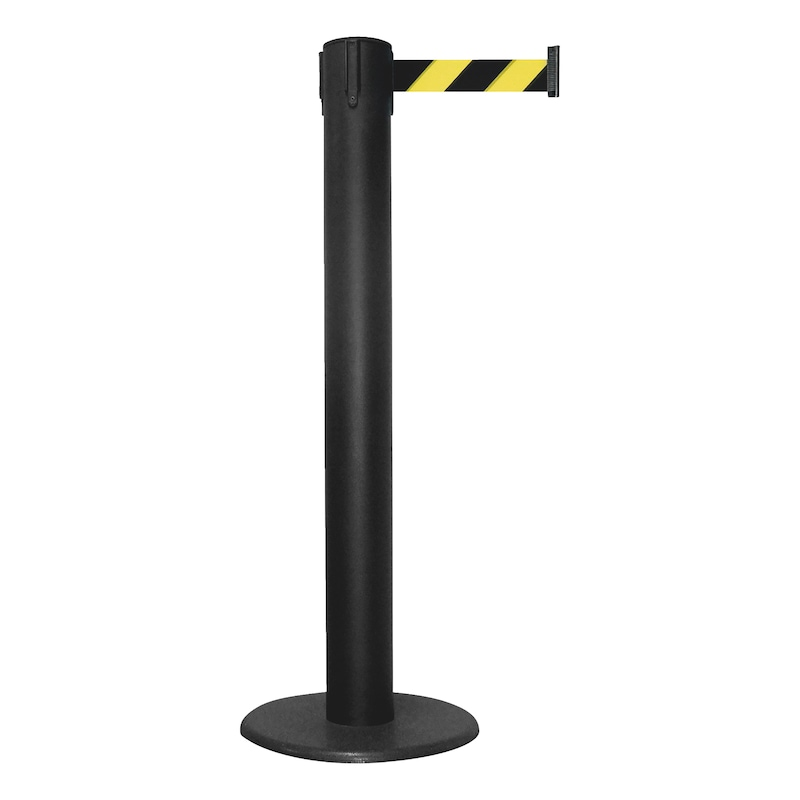 Barricade post with pull-out belt - POST-G-BLCK-MET-TAPE-50MM-YELL/BLCK-9M