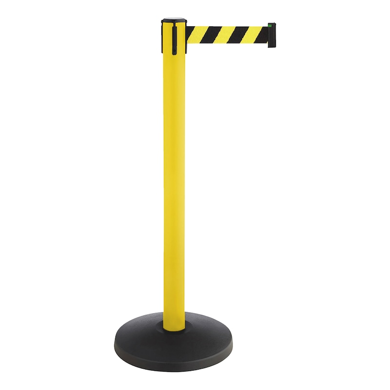 Barricade post with pull-out belt - POST-A-YELL-MET-TAPE-50MM-YELL/BLCK-3M