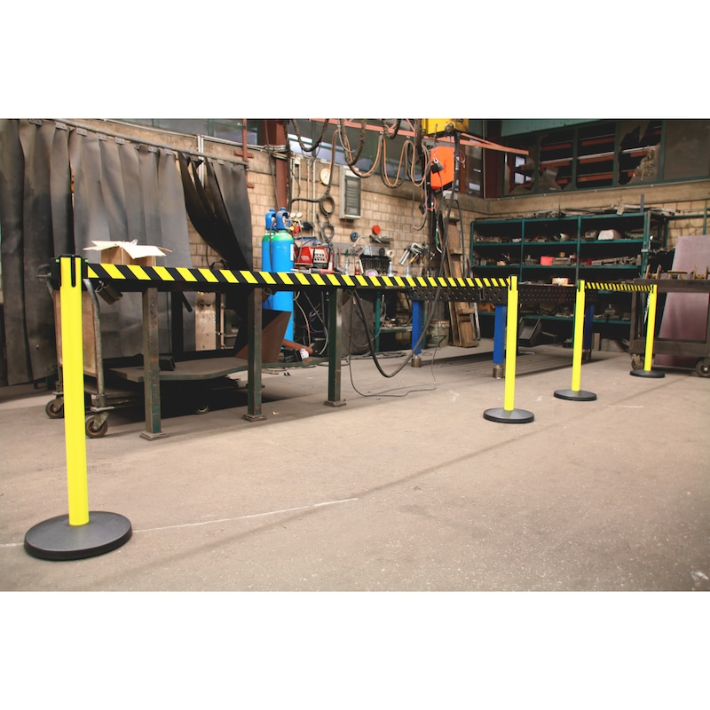Barricade post with pull-out belt - POST-G-YELL-PVC-TAPE-50MM-YELL/BLCK-4M