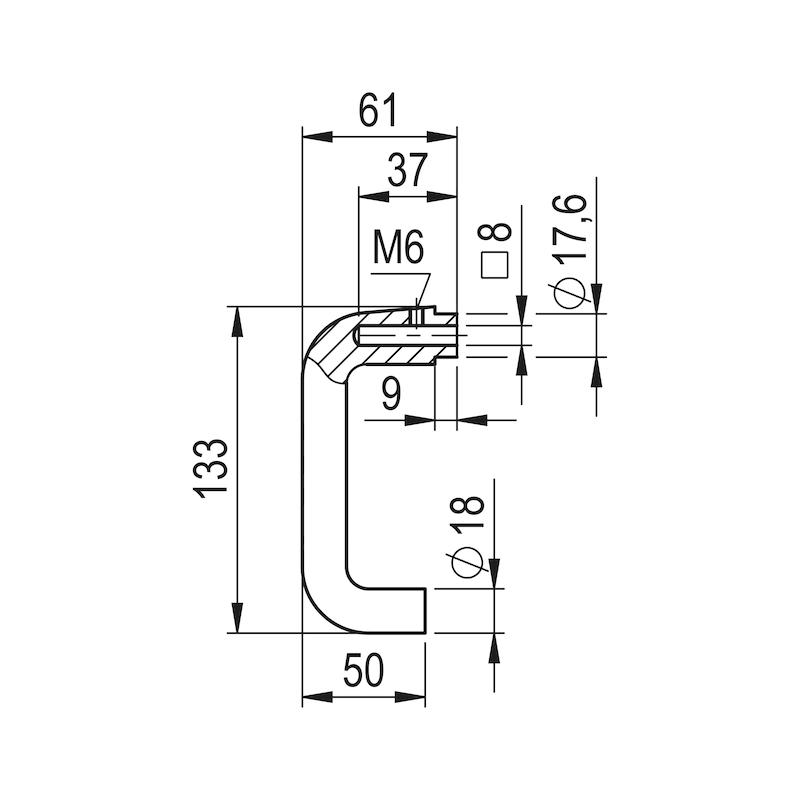Türdrückerpaar AL 120 U-Form - TD-ALU-AL120-F2/NEUSILBER
