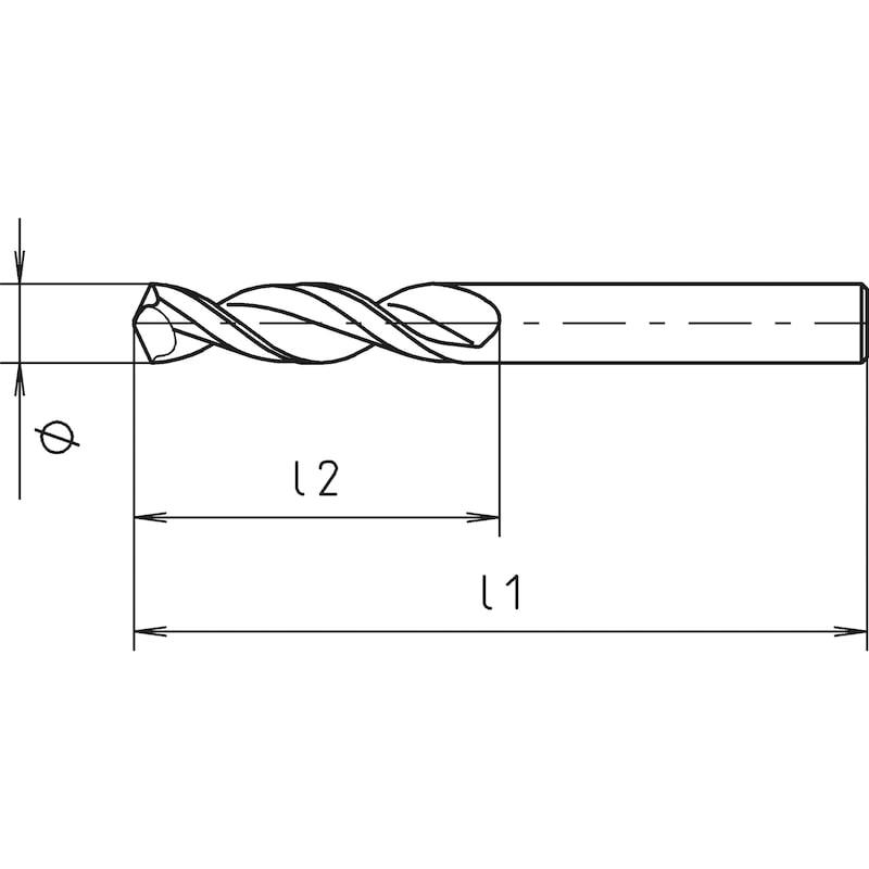 HPT-Spiralbohrer, DIN 1897, extra kurz - 2