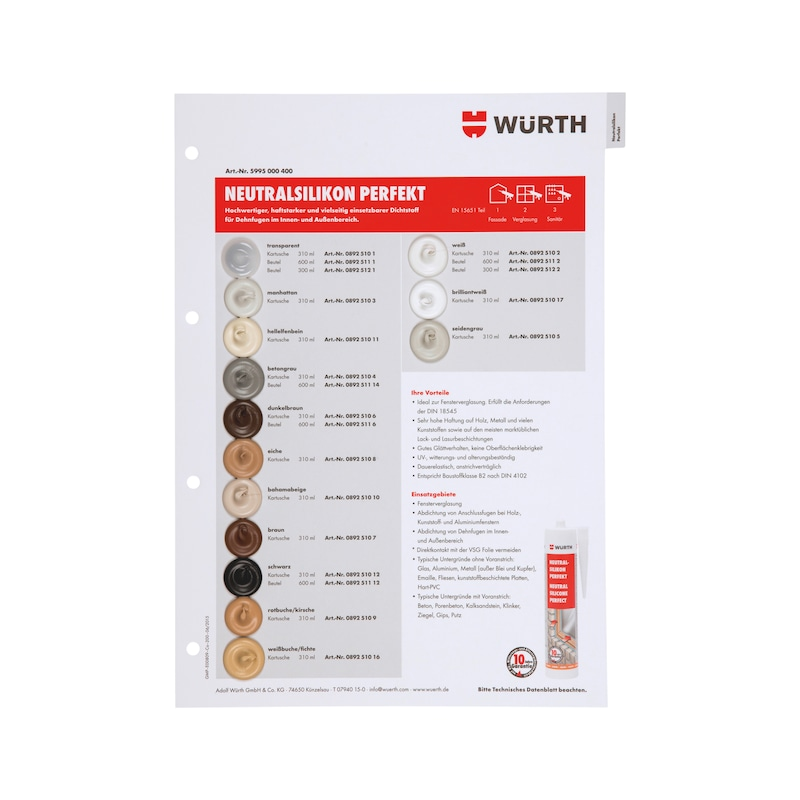 Farbmusterkarte Dichtstoffe - FARBMUSTER-DI-TAFEL-A4-(SIL-NEUT PERFEK)