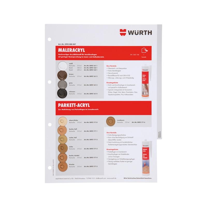 Farbmusterkarte Dichtstoffe - FARBMUSTER-DI-TAFEL-A4-(SIL-ACRYL)
