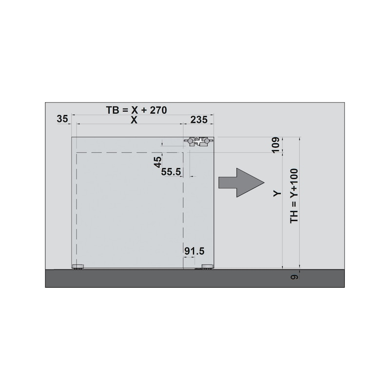 Zimmerschiebetürbeschlag H-80-900 80 kg - 8