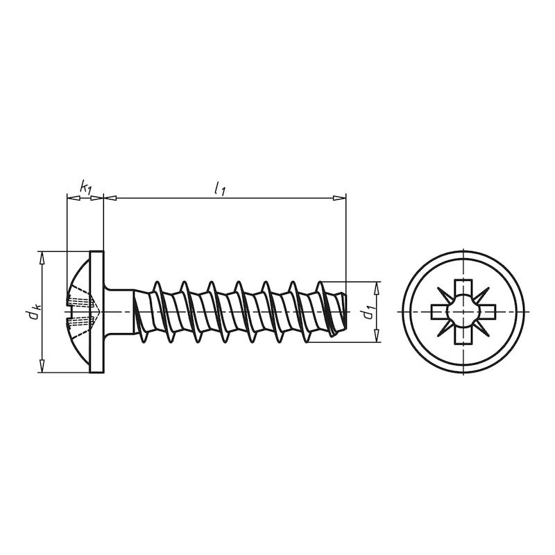WÜPLAST<SUP>® </SUP>Linsenkopfschraube mit Flansch und Kreuzschlitz Z - SHR-FLSH-W1411-Z2-A2-3,5X14
