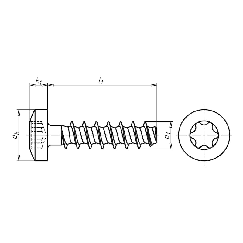 WÜPLAST<SUP>® </SUP>Linsenkopfschraube mit Innensechsrund - SHR-LIKPF-W1452-T10-10.9-(P3R)-3,5X16