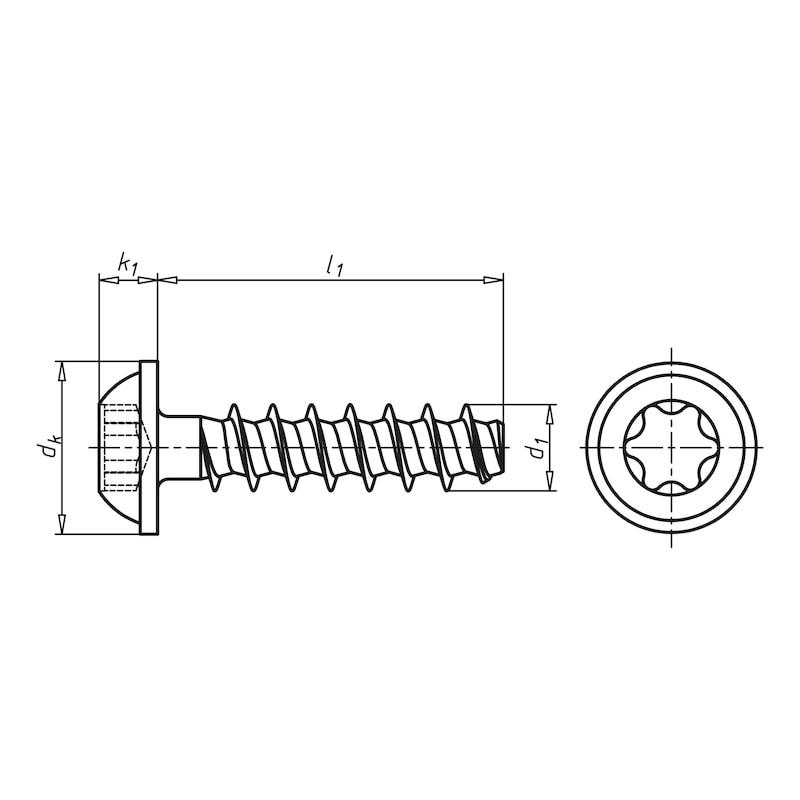 WÜPLAST<SUP>® </SUP>Linsenkopfschraube mit Flansch und Innensechsrund - SHR-FLSH-W1451-TX20-10.9-(P3R)-4X12