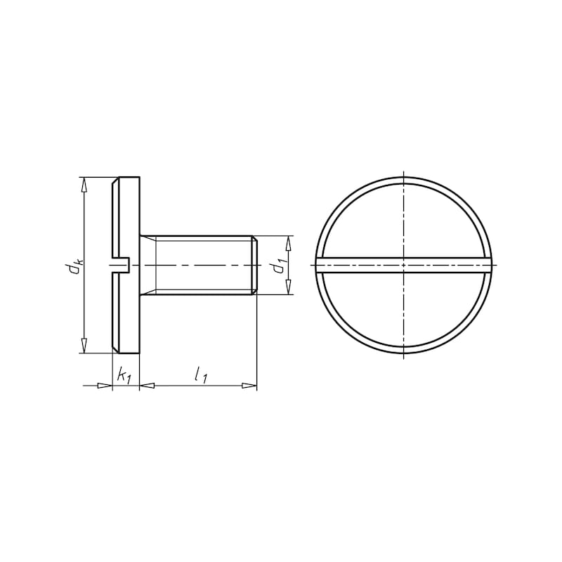 Flachkopfschraube mit Schlitz und großem Kopf - SHR-FLKPF-DIN921-5.8-SZ-(A2K)-M3X6