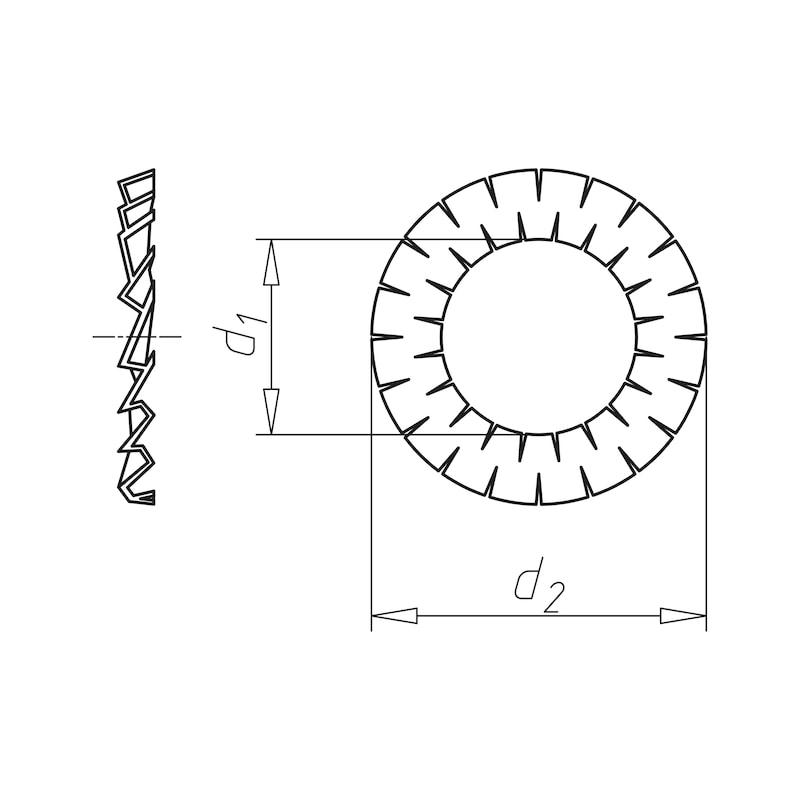 二重ギザ歯付きロックワッシャー - ダブルワッシャー ユニクロ M 5