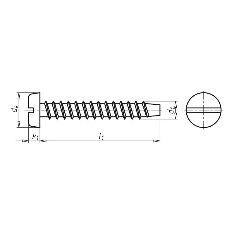 Zylinder-Blechschraube Form F mit Schlitz - 2