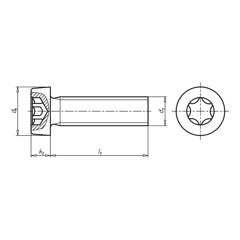 Zylinderschraube mit Innensechsrund, niedriger Kopf - SHR-ZYL-ISO14580-8.8-TX30-ZFSHL-M6X25