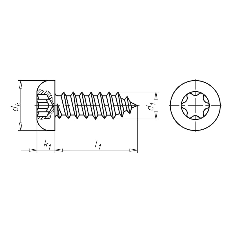 Flat head tapping screw, type C with hexagon socket - SCR-PANHD-ISO14585-C-TX25-(A2K)-4,8X9,5