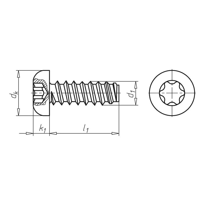 Flachkopf-Blechschraube Form F mit Innensechsrund - 2