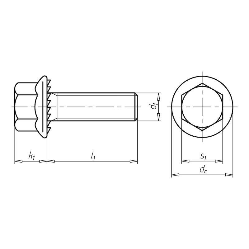 Болт с шестигранной головкой и фланцем с насечками - БОЛТ-FLSH/UKV-8.8-SW13-A2K-M8X40