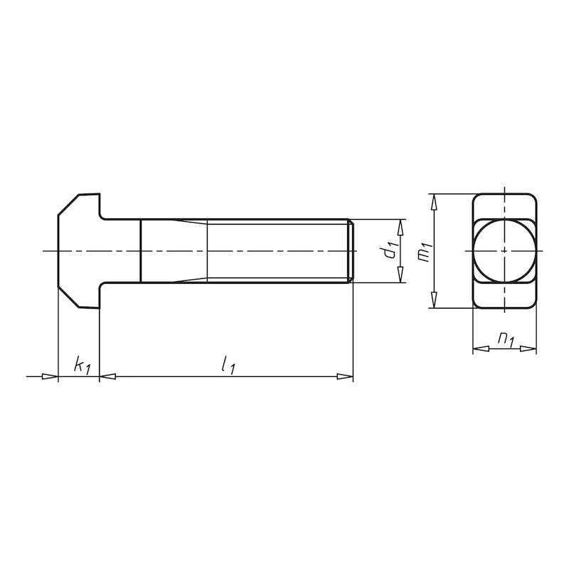 Hammerkopfschraube mit Vierkant - SHR-HAMKPF-DIN186-A4-M24X80