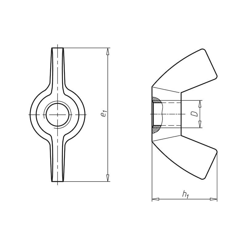 Flügelmutter, kantige Flügelform (amerikanische Form) - MU-FLG-AEDIN314-US-(A2K)-M12