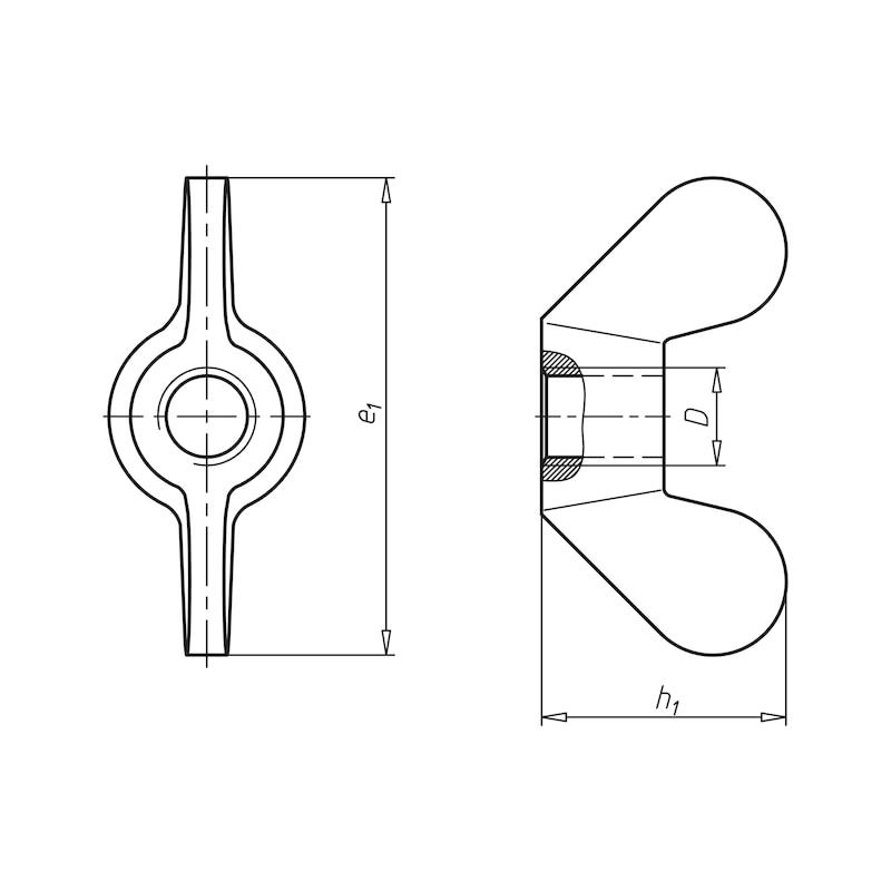 Flügelmutter, runde Flügelform (deutsche Form) - 2