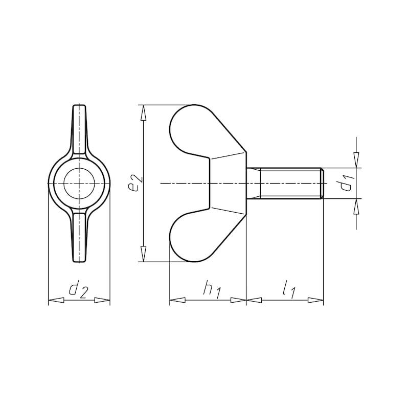 Flügelschraube runde Flügelform - SHR-FLG-DIN316-4.6-(VZD)-M8X30