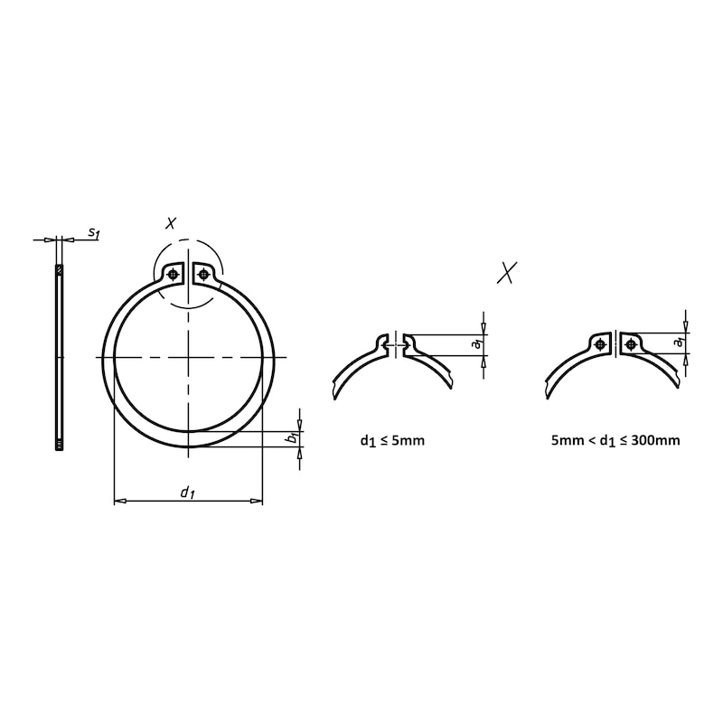 Circlip, axe - CIRCLIPS-EXT-DIN471-1.4122-D7,0