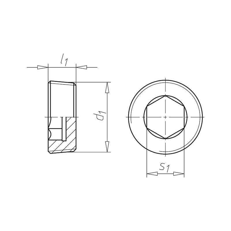 Verschlussschraube mit Innensechskant, kegeliges Gewinde - SHR-VERSHL-DIN906-A4-M10X1