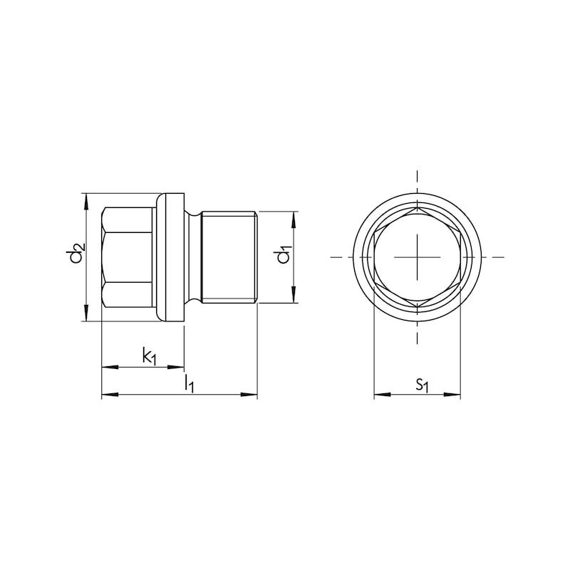 Verschlussschraube mit Bund und Außensechskant - 2