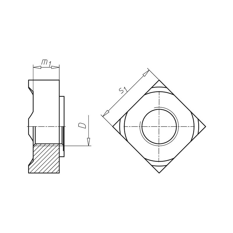 Vierkant-Schweißmutter - 0