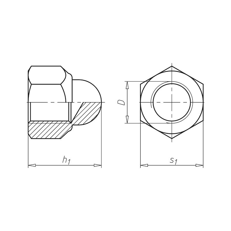Sechskant-Hutmutter mit Klemmteil (nichtmetallischer Einsatz) - 2