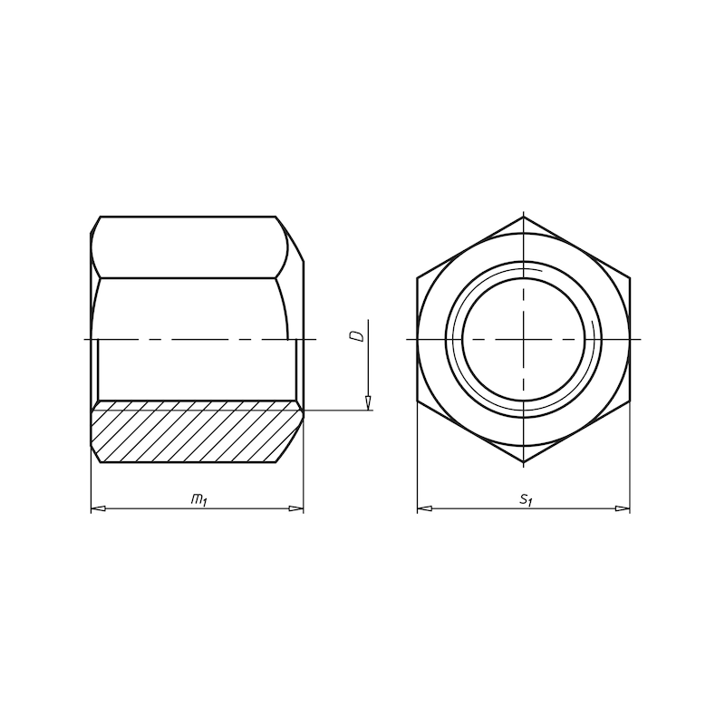 Шестигранная гайка, высота 1,5 x д - ГАЙКА-DIN6330-10-1,5D-SW24-M16
